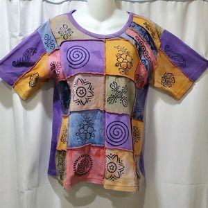 Rising Internation hippie boho patchwork tee shirt